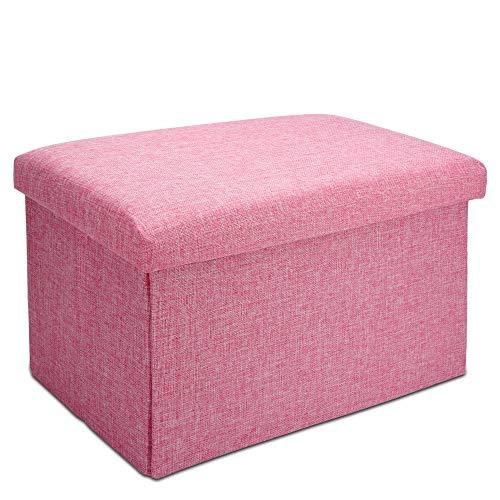 Intirilife Faltbare Sitzbank 49x30x30 cm in KIRSCHBLÜTEN PINK - Sitzwürfel mit Stauraum und Deckel aus Stoff in Leinen Optik - Sitzcube Fußablage Aufbewahrungsbox Truhe Sitzhocker