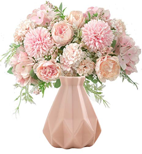 TBUY 2 Pack Fake Artificial Flowers Hydrangea Daisy Rose for Home Hotel Decor (Pink) Silk Flower Arrangements