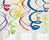 amscan Swirl (12ct) Party Decorations, 22', Multicolor