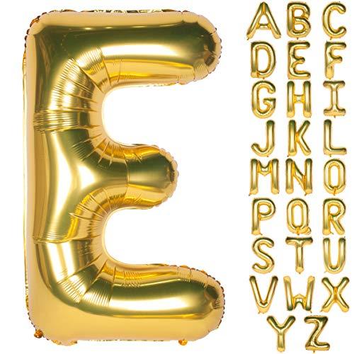 CHANGZHONG Große Mylar Folie Helium Brief Luftballons 40 Zoll Gold Luftballons Alphabet Buchstaben für Geburtstag Brautdusche Jubiläumsdekorationen(Letter E)