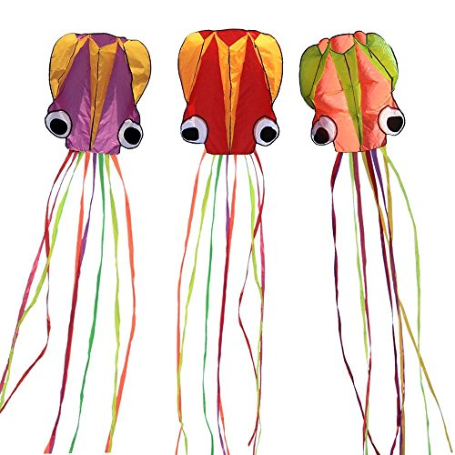 Hengda kite-Pack 3 Multi-Colors Beautiful Large Easy Flyer Kite for Kids-Software Octopus-It's Big! 31 Inches Wide with Long Tail 157 Inches Long-Perfect for Beach or Park
