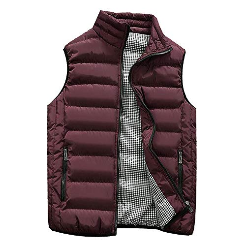 KEERADS HOMME Veste Gilet Casual Chaud Doudoune Vest sans Manche Manteau Blouson Zipper Automne Hiver(FR-50/M,Vin Rouge)