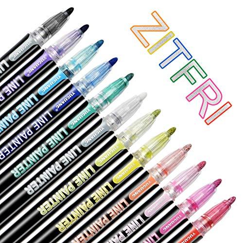 ZITFRI Outline-Stift 12 Farben Doppelte Line Stift Umrissstift GlitzerStifte für Kartenschreiben, Geschenkkarten, Geburtstagsgruß, Weihnachten-Karten, Grußkarten, Malen, DIY usw.