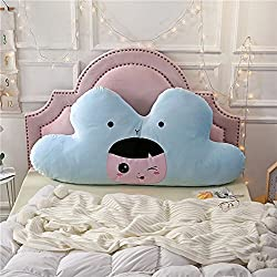 Blue cloud with a doll inside cool design back rest headbaord reading pillow for kids