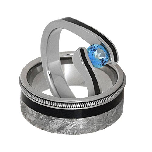 Aquamarine Tension-Set Ring and Ebony Wood, Gibeon Meteorite, Guitar String Titanium Band, His and Hers Rings M 13.5-F4