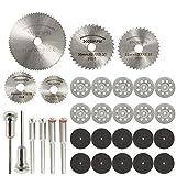 Lot de 31 disques à tronçonner diamantés en acier rapide HSS pour métal/bois/plastique/verre/pierre avec 6 mandrins