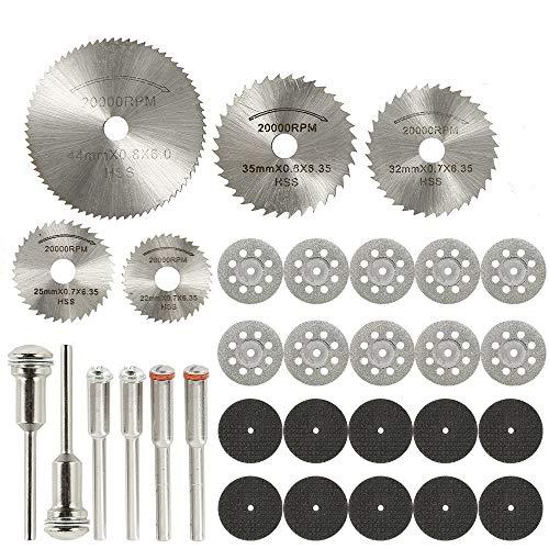 31Pcs Cutting Wheel Discs Set 1/8'' Shank Diamond Cutting Tool HSS Metal/Wood/Plastic/Glass/Stone Cut Off Circular Saw Blades, Resin Cut Off Discs Kit with 6 PCS Mandrels