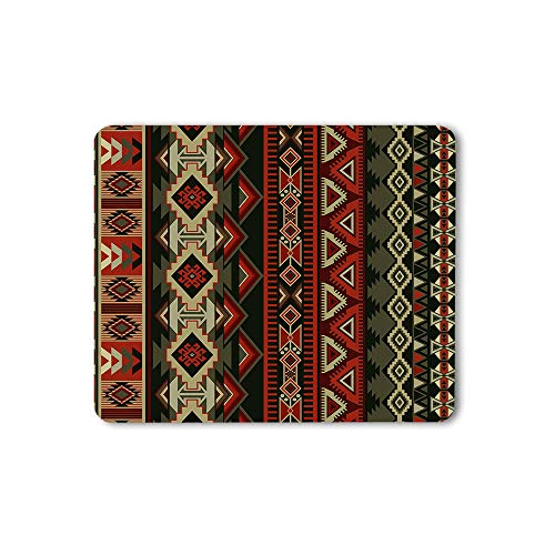 Moslion Aztec Print Mouse Pad Native American Style Decorative Geometric Ornament Tribal Design Gaming Mouse Mat Non-Slip Rubber Base Thick Mousepad for Laptop Computer PC 9.5x7.9 Inch
