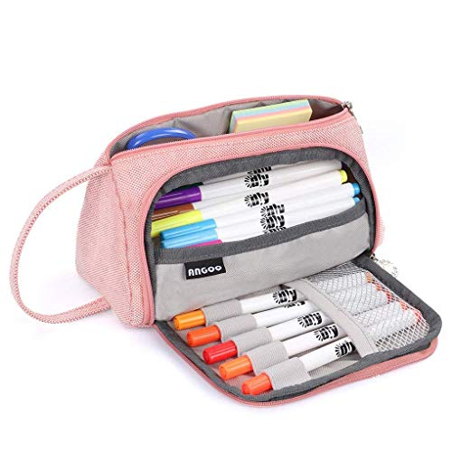 Pencil Case, Big Capacity Pen Case Bag Pencil Marker Pouch Holder Large Storage Stationery Bag Zipper Desk Organizer Box with Handle for Office Middle High School College Student Girl Women Adult Teen