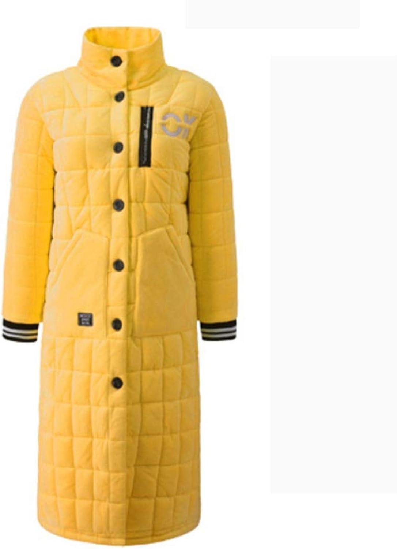 NAN Liang Bathrobe, Women's Winter 100% Cotton bathrobe, Thick and Long Warm Pajamas, can be Worn Outside Fashion Jacket, Home Service bathrobe Soft (color   Yellow, Size   XXL)