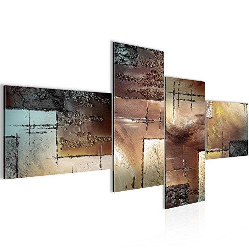 Runa Art Bilder Abstrakt Wandbild 200 x 100 cm Vlies - Leinwand Bild XXL Format Wandbilder Wohnzimmer Wohnung Deko Kunstdrucke Braun 4 Teilig - Made in Germany - Fertig Zum Aufhängen 100941b