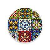 ZHONGJI Coasters for Drinks Absorbent Round Mexican Talavera Block Ethnic Folk Ornament Ceramic Stone Anti Scratch Cork Housewarming Gifts Wedding Living Room Office Decoration Bar 3.9Inch Set of 1