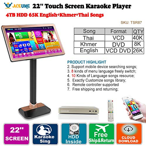 Lowest Price! 4TB HDD,75K Khmer/Cambodian VCD DVD +Thai VCD +English DVD Songs,22'' Touch Screen Kar...