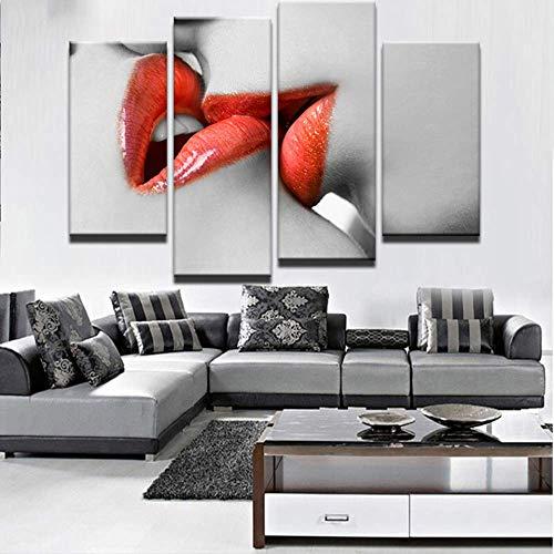 YGKDM HD gedrukt abstract canvas muurkunst schilderij poster modern 4 panelen rode lippen kus wooncultuur woonkamer ingekaderde modulaire afbeeldingen 30x60x2 30x80cmx2 Frame