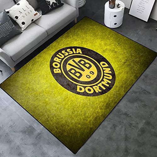 INSTUS Teppich Creative Einfach Kunst Dekoration Teppich Fußball Verein Logo Drucken rutschfeste Matte Geeignet für Restaurants Wohnzimmer Schlafzimmer / Dortmund1 / 80 * 120CM