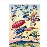 Mmdianpu Cartel de Viaje Vintage Ilustración de Dibujos Animados Canal de Panamá Apertura Globo de Aire Plano Antiguo Arte de la Pared Imagen Lienzo Impresión Pintura (50x70 cm sin Marco)