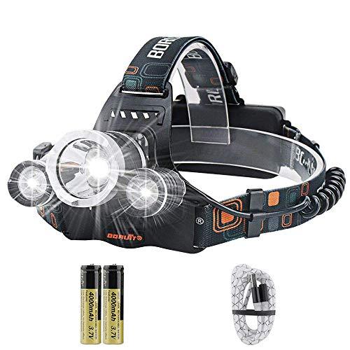 Boruit RJ-3000 - Linterna frontal luz LED recargable