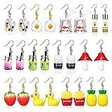 12 Pairs Cute Weird Earrings Funny Yellow Duck...