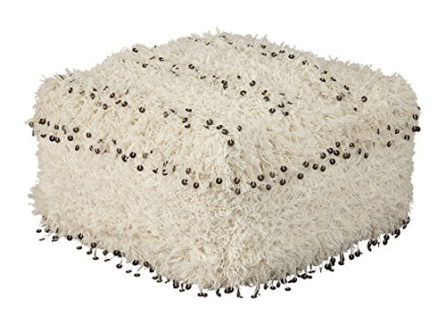 Signature Design by Ashley Celeste Pouf-Sequin Trim over Shag Upholstery-White