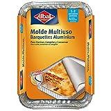 Albal Aluminio 21x15x4 Centímetros con Tapa   Desechables   Multiusos para Asar, Congelar y Conservar   1-2 Porciones   4 Moldes