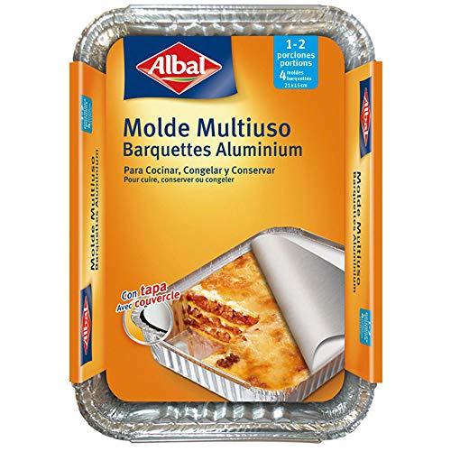 Albal Aluminio 21x15x4 Centímetros con Tapa | Desechables | Multiusos para Asar,...