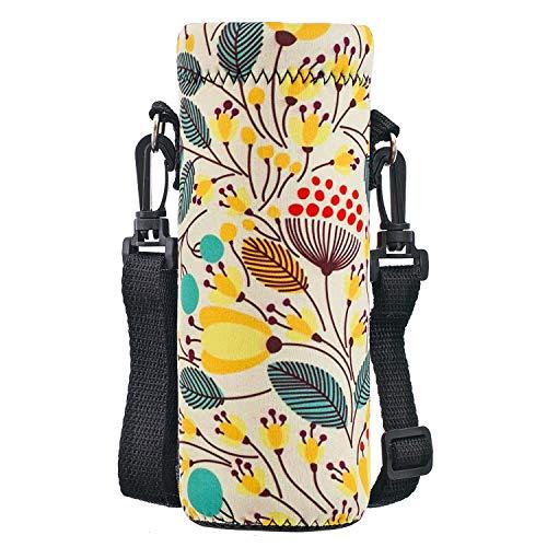 AORTDES Water Bottle Sling Case Bag Carrier Holder - 500ML/16.9oz Neoprene Water Bottle Sleeve Strap Cooler Cover Pouch for Men Women Kids Travel Camping Walking Hiking Running(Leaves)