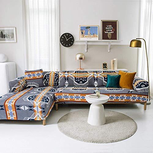 JBNJV Funda de sofá Suave, Funda Protectora con Estampado geométrico con Telas de diseño Ajustadas, Funda de sofá de fácil instalación rápida Lavable a máquina-J M: 145-185 cm (57-74 Pulgadas)