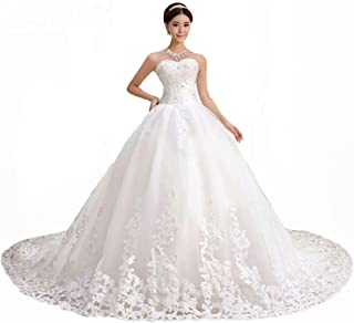 2ac2291bd56ed QueenBridal Gorgeous Sweetheart Lace Chapel Train Ball Gown Wedding Dress  for Bride