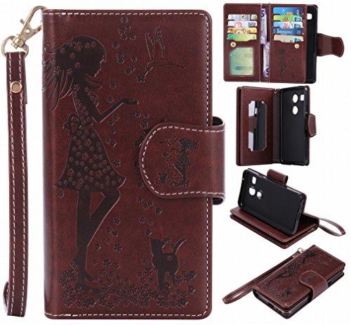 Yiizy Handyhülle für LG Nexus 5X Hülle, Mädchen Prägung Entwurf PU Ledertasche Beutel Tasche Leder Haut Schale Skin Schutzhülle Cover Stehen Kartenhalter Stil Schutz (Braun)