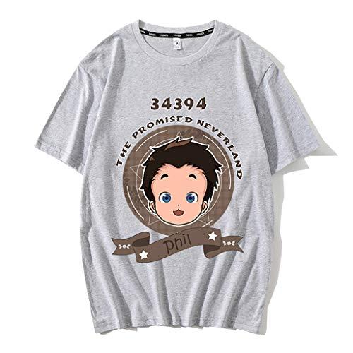 Nova camisa cinza The Promised Neverland masculina e feminina de algodão anime Emma Norman Ray camisetas pulôver, blusas camisetas, 07 - Cinza, XXL