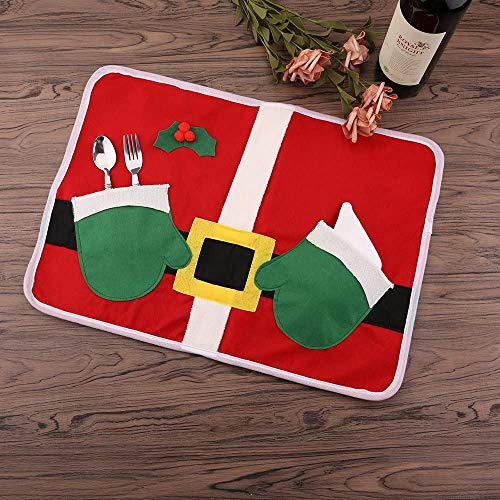 Mbuynow 6 Stücke WeihnachtsmannTischdeko Deko Bestecktasche Besteckbeutel Besteckhalter für Weihnachten Deko