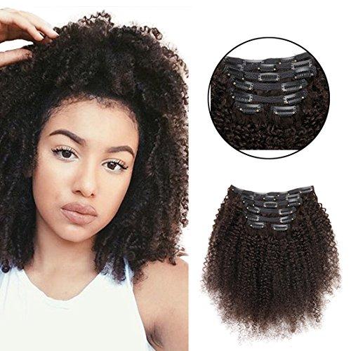 viviabella 100 Cheveux Humains Double trame d'épaisseur/Extensions cheveux bouclés à clip Noir naturel 70 g-160g 30,5 cm -28 \