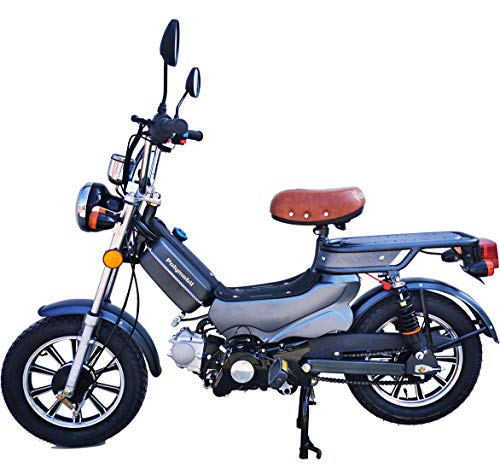 Polymobil 49cc Gas Powered Moped Scooter Bike with Pedal for Adults (Gray)