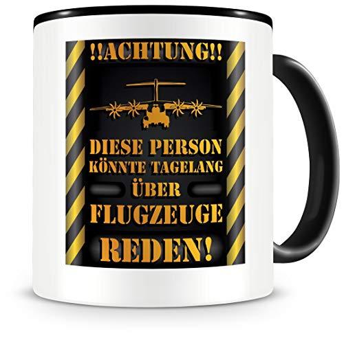 Samunshi® Flugzeug Tasse mit Spruch Geschenk für Flugzeug Fans Männer Kaffeetasse groß Lustige Tassen zum Geburtstag schwarz 300ml