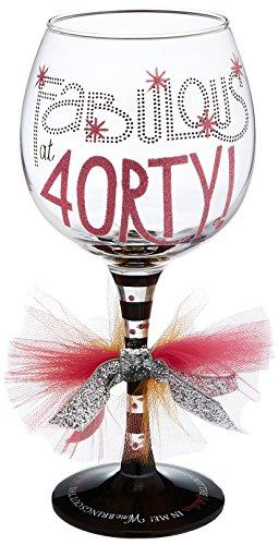 Mud Pie Fabulous 40 Wine Glass, 4X4X8.5
