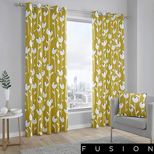 Fusion, 100% Coton, Doublure: 52% Polyester/48% Coton, Jaune Ocre, Curtains: 90\