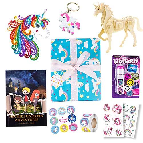 Georgie Porgy 7 en 1 Set de Regalo de Unicornio, Incluye Puzzles de Madera de Unicornio, Libro de Cuentos, Proyector de Antorcha, Kit de Pintura de Diamantes, Llavero, 2 Pegatinas de Tatuaje
