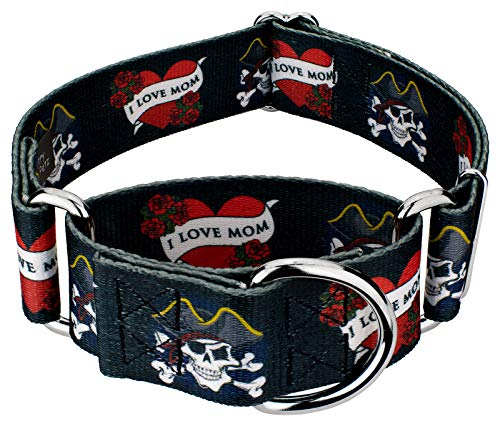 Country Brook Petz - 1 1/2 Inch I Love Mom Martingale Dog Collar - Large