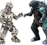 2PCS Big Godzilla Earth MechaGodzilla Figures King of The Monsters - Godzilla Figures Kings of The Monsters - 15' & 12' Head-to-Tail, Large Movable Joints Action Movie Series Soft Vinyl