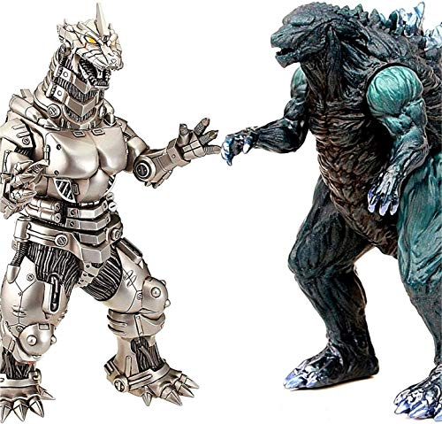 "2PCS Big Godzilla Earth MechaGodzilla Figures King of The Monsters - Godzilla Figures Kings of The Monsters - 15"" & 12"" Head-to-Tail, Large Movable Joints Action Movie Series Soft Vinyl"