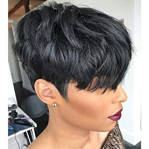 Yviann Human Hair Short Wigs Pixie Cut Wigs with Bangs Short Black...