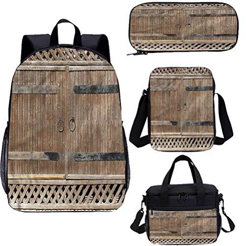 Ensemble de sac à dos pour adolescents 38,1 cm - Vieux portail en bois avec poignée, sacs décole pour le travail, lécole, les voyages, le pique-nique