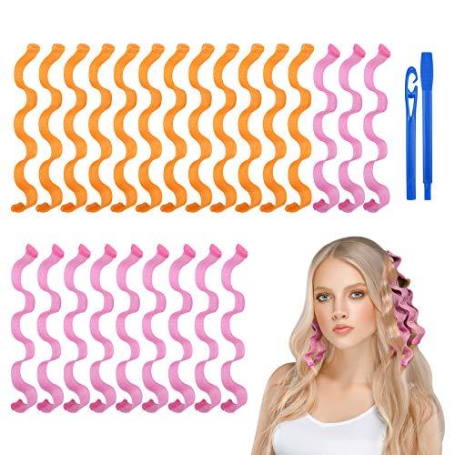 URAQT Lockenwickler, 24 Stück Spiral Locken Wave Styling Kit, Haar Lockenwickler Hair Curler mit Styling Haken für alle Frisuren (30cm)