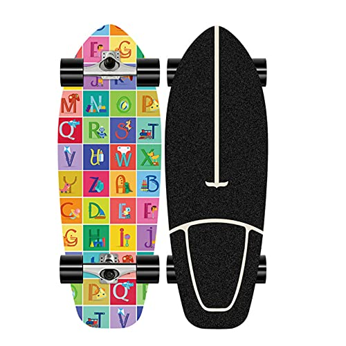 XKAI Cruiser Pumping Surfskate Carver Skateboard CX4 Truck Monopatin Maple Deck Beginners Complete Fancy Board Maple Longboard Deck Street Niño Adolescentes Skateboard, ABEC-11 Bearings, 75 * 23CM