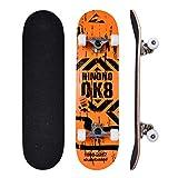 Bellanny Completo Skateboard para Principiantes 31.5x8inch, 9 Capas de Madera de Arce Monopatin, Carga de 100 Kg, para Adolescentes Niñas Niños Adultos-Naranja