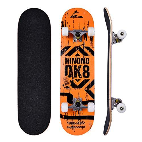 Bellanny Skateboard 31x8 Zoll Komplette Cruiser Skateboard für Kinder Jugendliche Erwachsene, 9-Lagiger Kanadischer Ahorn Double Kick Deck Concave mit All-in-one Skate T-Tool für Anfänger