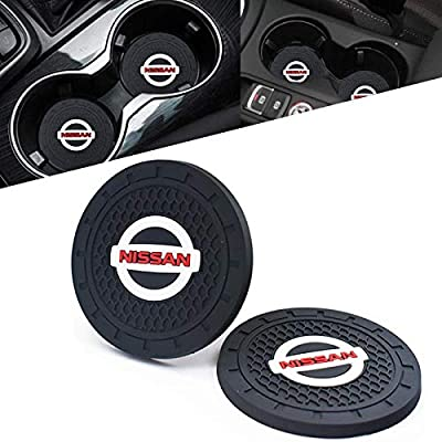"""2 Pcs Car Cup Holder Insert Coaster with Nissan Logo 2.75"""" Vehicle Travel Auto Silicone Anti Slip Cup Mat Car Interior Accessories Fit for Nissan Rogue Altima Maxima Sentra Frontier"""