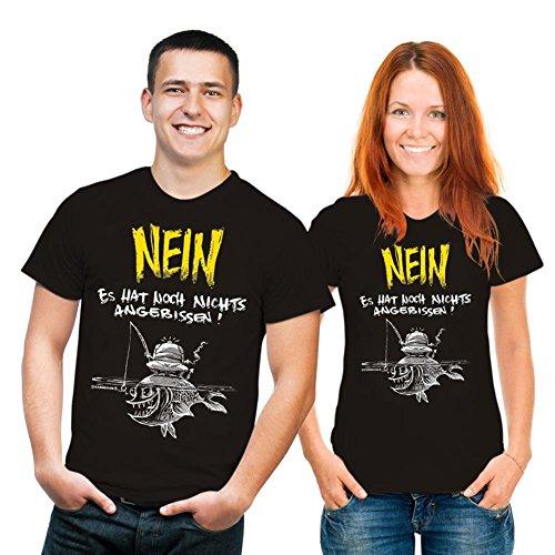 RAHMENLOS T-Shirt - angebissen Angeln - Fun Spruch T-Shirt 100% Baumwolle - Grösse XXL