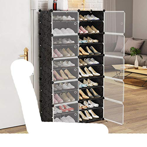US Zapatero de gran capacidad para almacenamiento de botas de 12 cubos modulares de plástico, 6 niveles, 24 – 96 pares de zapatero, color negro, 2 x 10 niveles, Estados Unidos