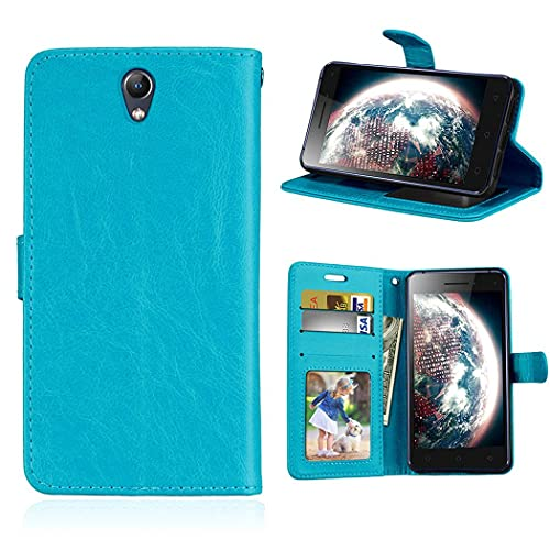 ShuiSu Flip Cover Case for Lenovo Vibe S1, Glossy Premium PU Leather Soft Silicone Magnetic Closure Kickstand Wallet Card Pockets Protective Shell -Blue
